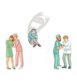 flat doctors calming down patients set vector image