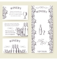 Winery bouqlet and cards templates set vector image