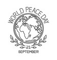 world peace day line logo design vector image