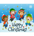 Christmas card design with kids playing with snow vector