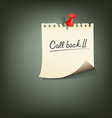 Paper note with text call back vector image