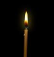 burning candle on a black background vector image
