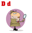 Detective cartoon with letter vector image