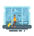 flat style of bearded man with bag in airport vector image