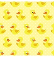 Seamless pattern with duckling on yellow dotted vector image