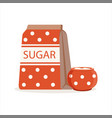 red dotted pack of sugar and sugar bowl vector image