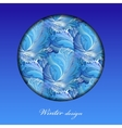 Winter frozen glass background Circle design with vector image