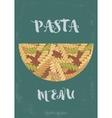 Hand-drawn italian pasta fusilli background vector image