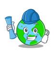 architect world globe character cartoon vector image