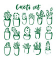 cactus and succulent hand drawn set geometric vector image