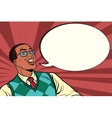 Intelligent African with glasses says comic bubble vector image