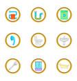 plumbing service icons set cartoon style vector image
