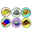 Set of Hats and Caps on Round Background vector image