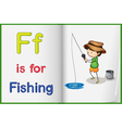 Fishing and a book vector image vector image