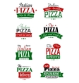 Italian pizza colorful labels and signs vector image vector image