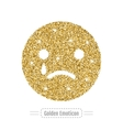 Sad emoticon by golden glitter Face with smile vector image