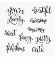 Friendship Family and Romantic love lettering set vector image vector image