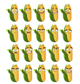 cute cartoon maize smile with many expressions vector image vector image