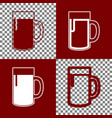 beer glass sign bordo and white icons and vector image