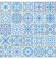 Blue Square Tiles Seamless Pattern vector image