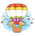 cartoon kids travelling by air vector image