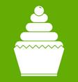 cupcake icon green vector image