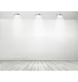 Grey room spotlights and wooden floor Showroom vector image