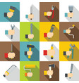 hand tool icons set building flat style vector image