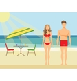 Happy Family on the Beach Man and Woman Swimwear vector image