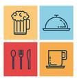 restaurant flat line icons vector image