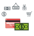 commercial market icons flat vector image