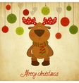 Christmas card with a deer vector image vector image