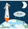 Bees astronauts in the space UFO and rocket vector image