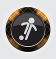 button orange black tartan - football player icon vector image