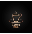 coffee cup label design background vector image