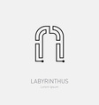 Letter N Labyrinth logo template Line art rebus vector image