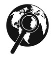 magnifier on earth icon simple style vector image