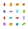 package icons set cartoon vector image