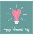Pink light bulb in shape of heart Flat design vector image