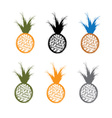 set of grunge pineapples vector image