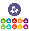 puzzle icons set flat vector image