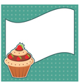 Cupcake with message cloud vector image vector image