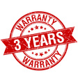 3 years warranty grunge retro red isolated ribbon vector image
