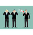 Angry boss screaming to businessmen vector image