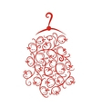 Dress with floral ornament on hanger sketch for vector image