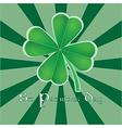Four leaf clover for St Patricks day vector image