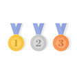 gold silver and bronze award medals with ribbons vector image