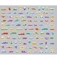 104 Transport icons set retro stickers vector image