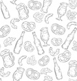 hand drawn beer seamless pattern with beer bottles vector image