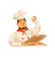Chef Packing Pizza In BoxPart Of Italian Fast vector image